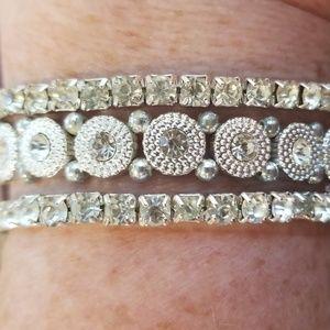 Triple Set -Stretch Silvertone Crystal Bracelet